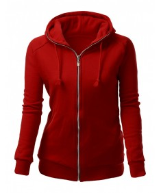 Women's Fleeced Solid Basic Turtle Zip Up Hoodie Jacket