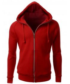 Men's Fleeced Solid Basic Turtle Zip Up Hoodie Jacket