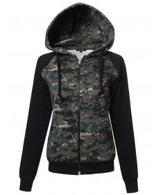Women's Long Sleeve Military Raglan Zip Up Hoodie with Pocket