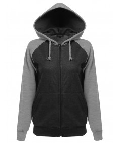 Women's Long Sleeve Raglan Zip Up Hoodie with Pocket
