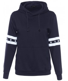 Women's Long Sleeve Hoodie with Stars and Stripe