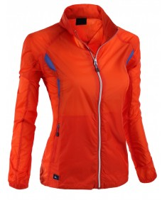 Women's Simple Design Full Zip Up Bright Outdoor Windbreaker Jacket