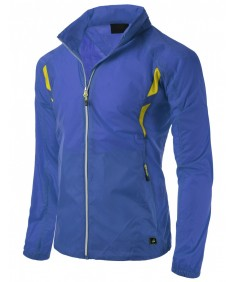 Men's Simple Design Full Zip Up Bright Outdoor Windbreaker Jacket