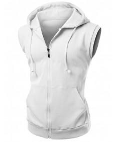 Men's High Quality Cotton Zip Up Hoodie Vest