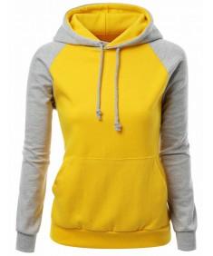 Women's Raglan Style Trendy Basic Hoodie T-Shirt