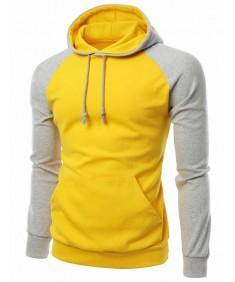 Men's Raglan Style Trendy Basic Hoodie T-Shirt