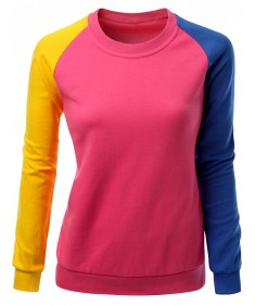 Women's 3 Tone Raglan Style Trendy Man-To-Man Shirt