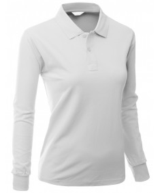 Women's Cotton Pk Silket Polo Dri Fit Long Sleeve Collar T Shirt