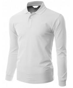 Men's Cotton Pk Silket Polo Dri Fit Long Sleeve Collar T Shirt