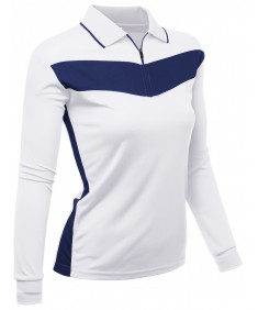 Women's 2 Tone Pattern Coolmax Fabric Polo Long Sleeve T-Shirt
