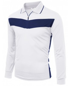 Men's 2 Tone Pattern Coolmax Fabric Polo Long Sleeve T-Shirt