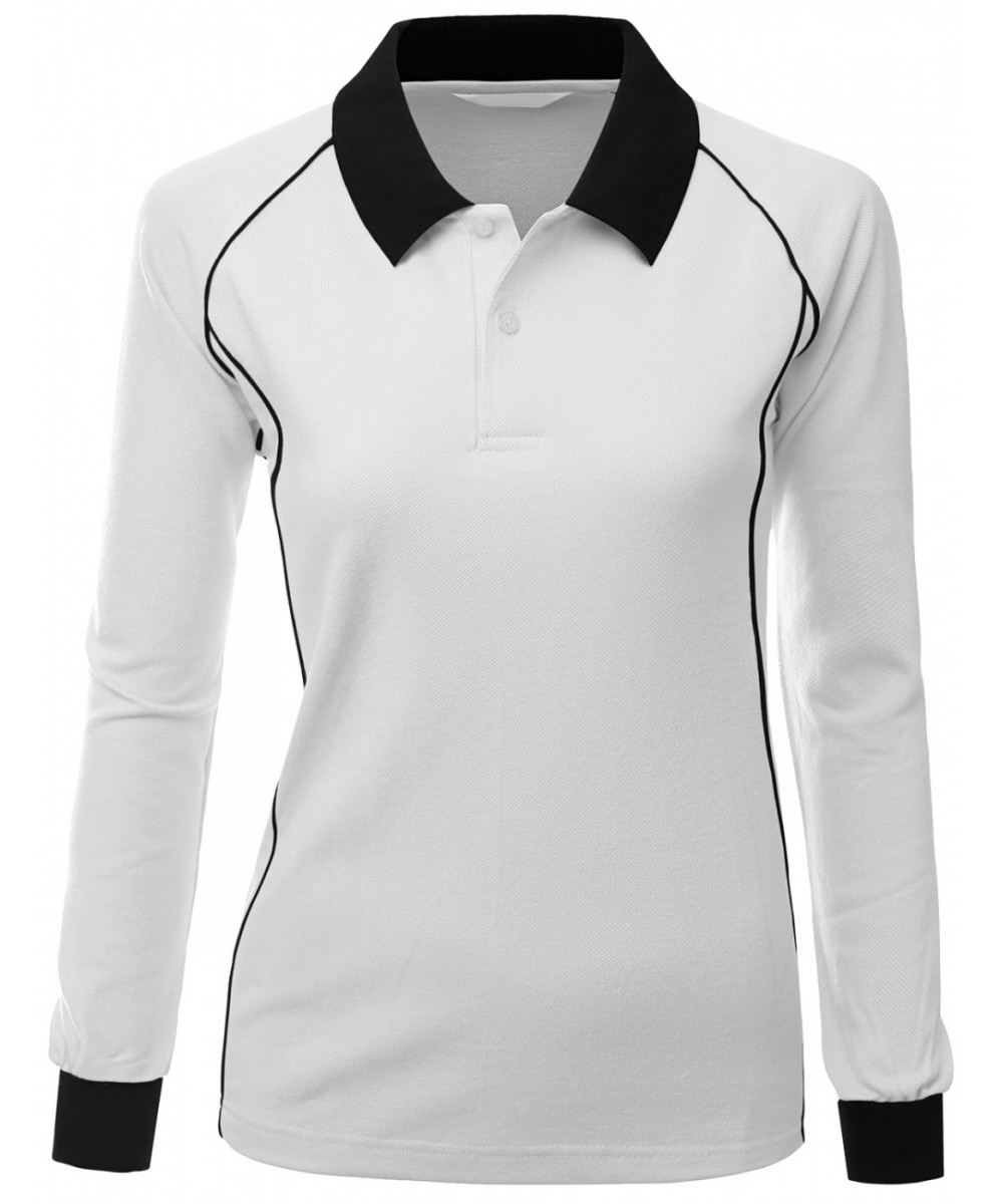 Comfortable Fabric Sporty Piping Long Sleeve Collar T Shirt