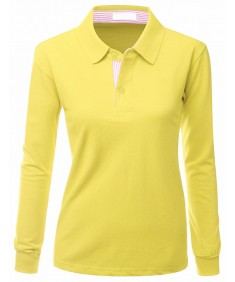 Women's Casual Basic Sporty Long Sleeve Polo Collar T-Shirt