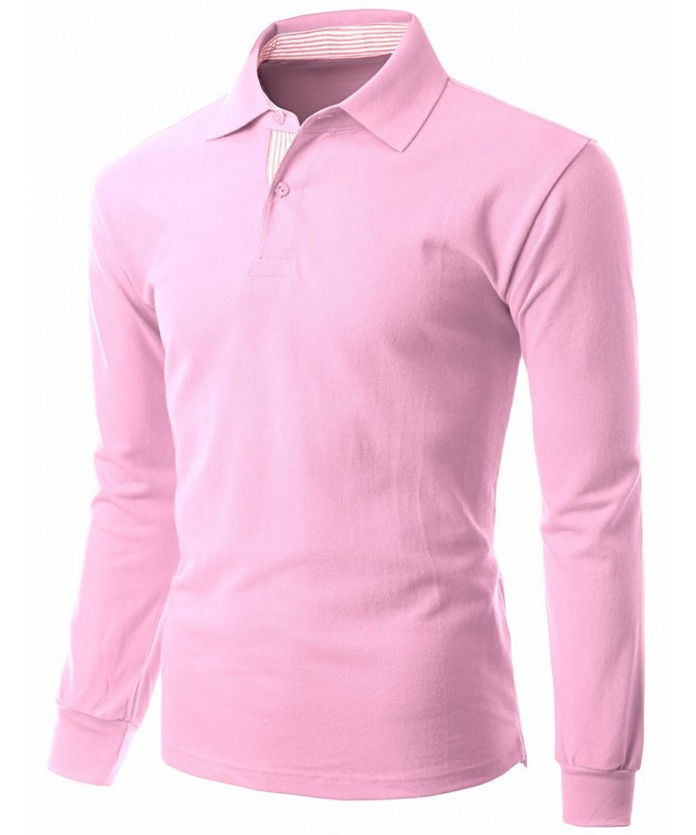 Casual basic sporty long sleeve polo collar t shirt for Long sleeve t shirts with collar