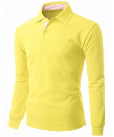 Men's Casual Basic Sporty Long Sleeve Polo Collar T-Shirt
