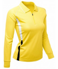 Women's Coolon Fabric Zip Up Point Long Sleeve 2 Tone Collar T-Shirt