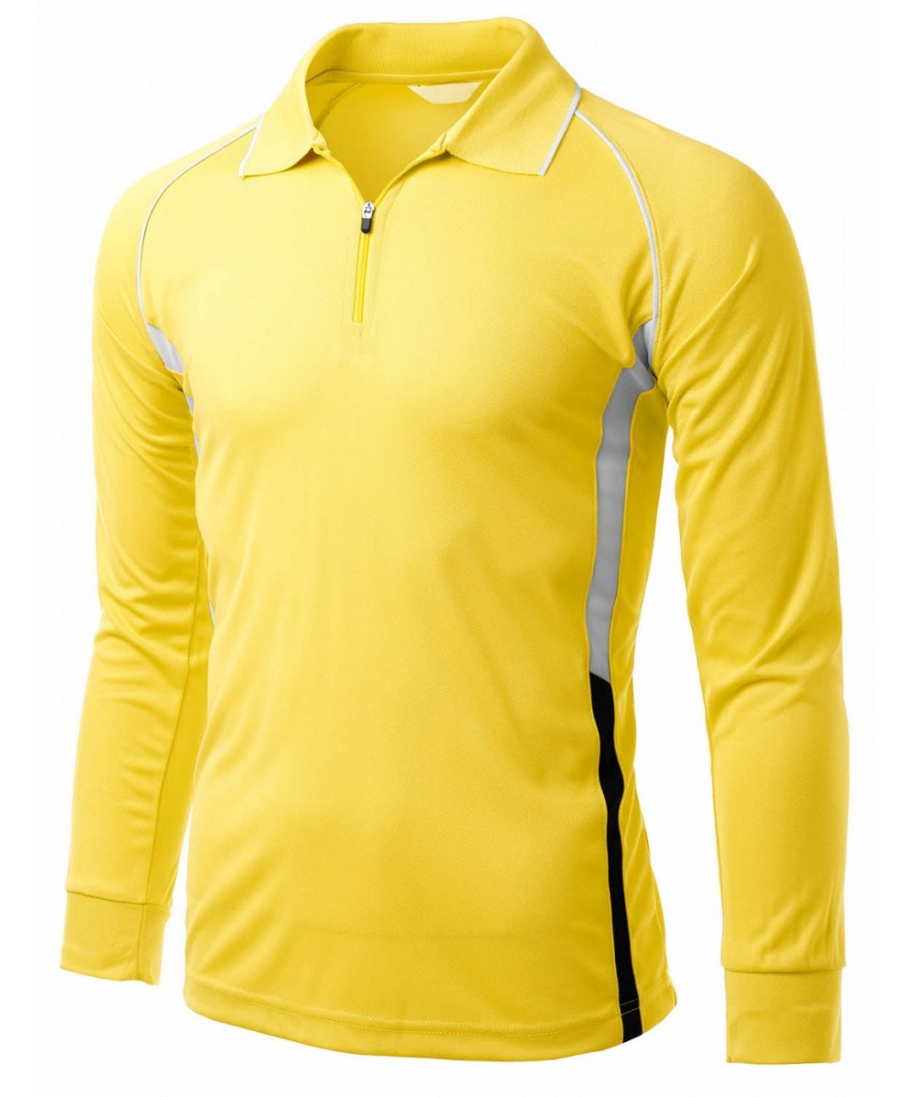 Coolon fabric zip up point long sleeve 2 tone Collar T-Shirt ...