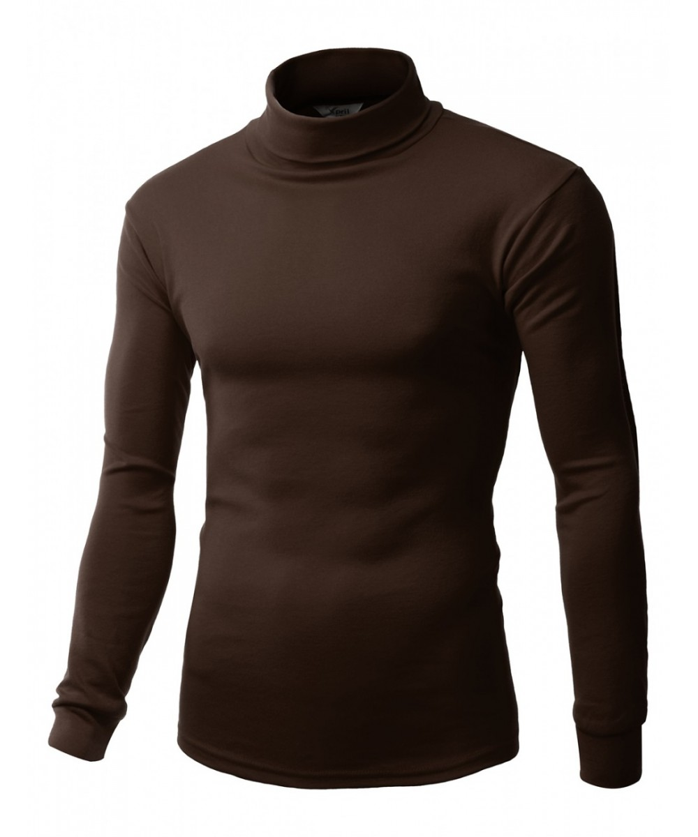 Men Double long sleeve layer Turtleneck T-shirt ...