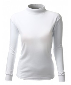 Women's Double Long Sleeve Layer Half Turtleneck T-Shirt