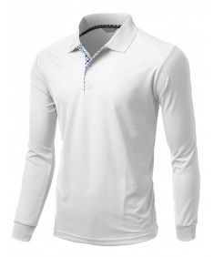 Men's Cool Max Fabric Sporty Design 2 Tone Plaid Collar T-Shirt