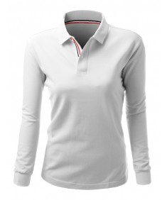 Women's 20X20 Cotton 2 Tone Collar Long Sleeve Polo T-Shirt
