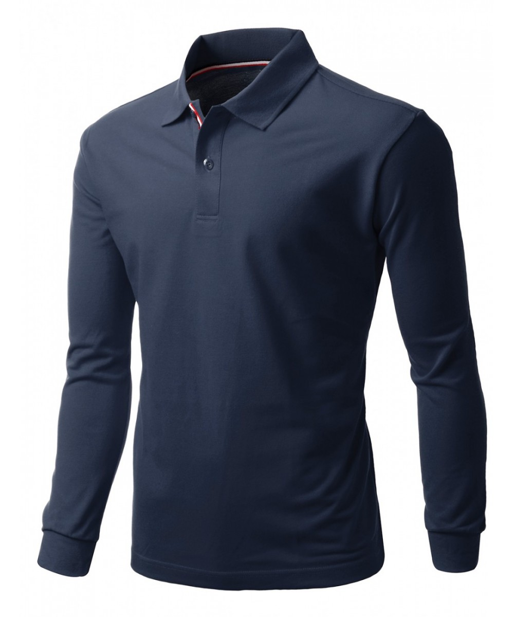 Men\u0027s 20X20 Cotton 2 Tone Collar Long Sleeve Polo T-Shirt