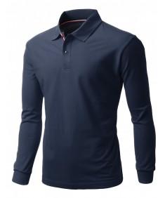 Men's 20X20 Cotton 2 Tone Collar Long Sleeve Polo T-Shirt