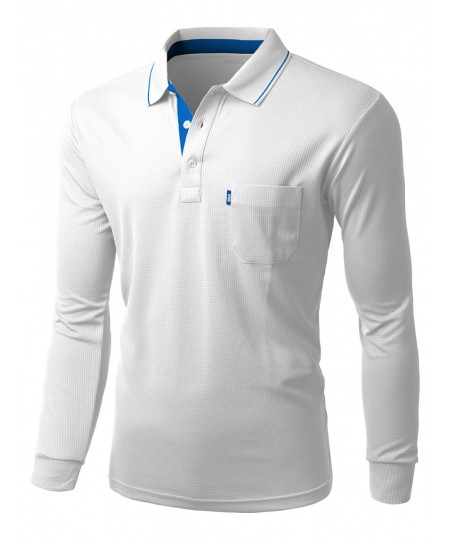 Cool max fabric sporty design 2 tone collar polo t shirt for Cool polo t shirts