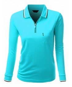 Women's Basic Style Front Zipper Collar Long Sleeve Polo T-Shirt