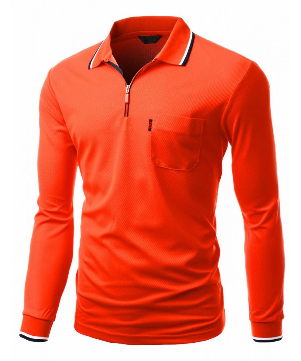 Basic style front zipper collar long sleeve polo t shirt for Long sleeve t shirts with collar