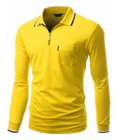 Men's Basic Style Front Zipper Collar Long Sleeve Polo T-Shirt