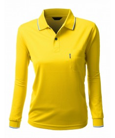 Women's Basic Collar Polo Long Sleeve Pocket Point T-Shirt