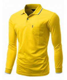 Men's Basic Collar Polo Long Sleeve Pocket Point T-Shirt