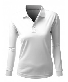 Women's Basic Collar Polo Long Sleeve Antimicrobial Fabric T-Shirt