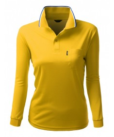 Women's Coolon Fabric Long Sleeve Pocket Point Polo T-Shirt