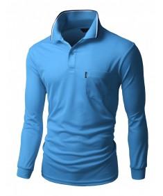 Men's Coolon Fabric Long Sleeve Pocket Point Polo T-Shirt