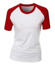Women's 2 Casual Design Tone Raglan Short Sleeve T-Shirt