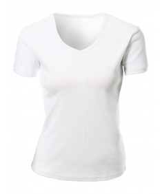 Women's Casual Cotton Span V-Neck Short Sleeve T-Shirt