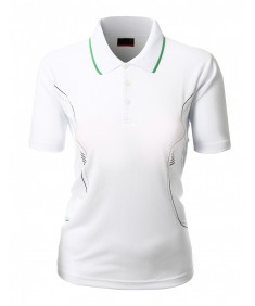 Women's Luxurious Coolon Fabric Short Sleeve Polo Collar T-Shirt