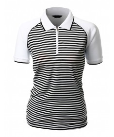 Women's Striped Collar Short Sleeve Zip Up Style T-Shirt