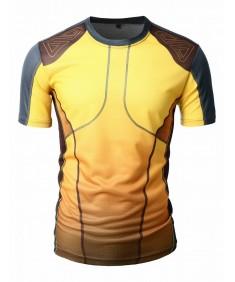 Men's Mesh Fabric Basic Roundneck Short Sleeve T-Shirt