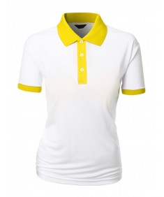 Women's 2 Tone Coolon Fabric Polo Collar Short Sleeve T-Shirt