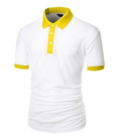 Men's 2 Tone Coolon Fabric Polo Collar Short Sleeve T-Shirt