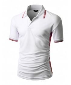 Men's 2 Tone Coolon Fabric, Short Sleeve Collar T-Shirt