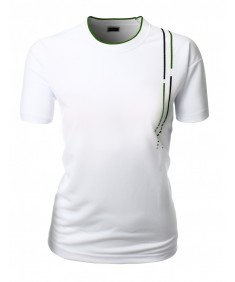 Women's Clean Cut Basic Coolon Short Sleeve Polo Collar 2-Tone T-Shirt