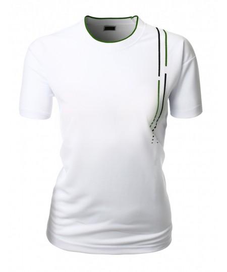 Women's Clean Cut Basic Coolon Short Sleeve Polo Collar 2-Tone T-Shirt