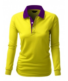 Women's Basic Luxurious Coolon Polo Collar Long Seleeve T-Shirt