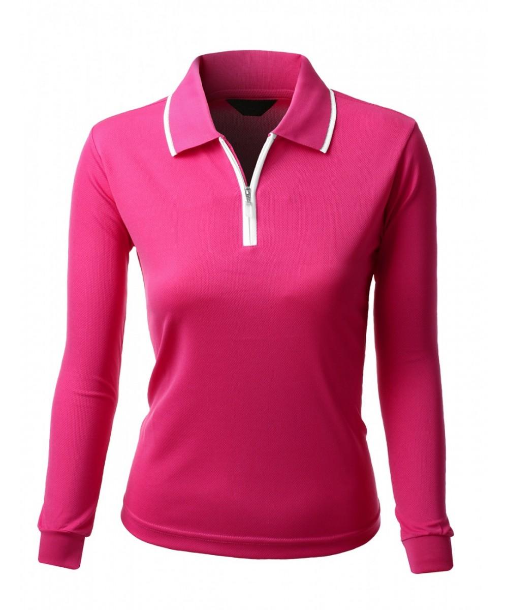 2 tone coolon collar zipper long sleeve polo t shirt for Long sleeve t shirts with collar