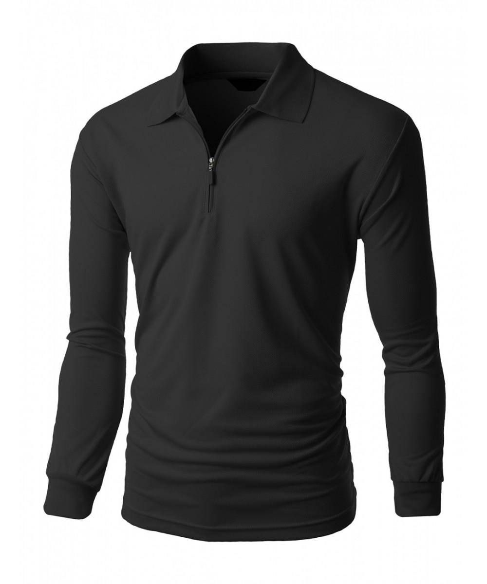 Black t shirt with zipper - Men S Casual Sporty Design Coolon Zipper Polo Collar T Shirt