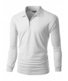 Men's Casual Sporty Design Coolon Zipper Polo Collar T-Shirt
